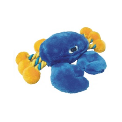 Crazy Eyes Blue Crab Plush Rope Dog Toy