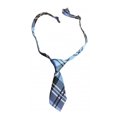 Dog Necktie - Navy and Lt Blue Plaid