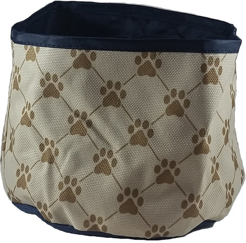 Tan Paw Print Travel Pet Food Bowl