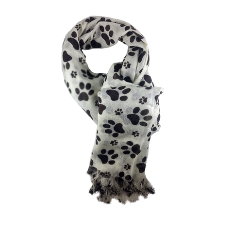 Ivory and Brown Paw Print Scarf - 100% Rayon