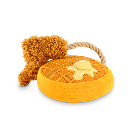 Chicken Waffle Plush Dog Toy