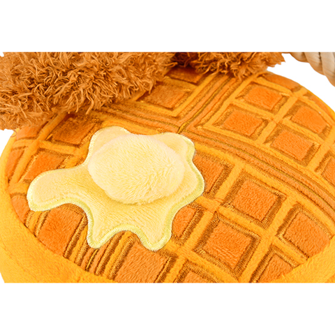 Chicken Waffle Plush Dog Toy Close Up