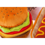 Classic American Burger Plush Dog Toy Close Up