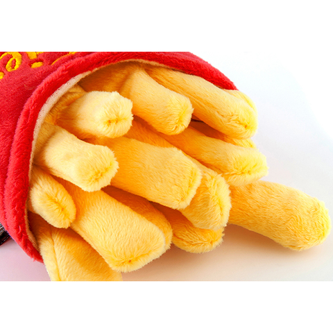 Classic American French Fries Plush Dog Toy Close Up