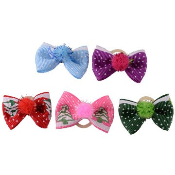 Christmas Pom Pom Dog Bows