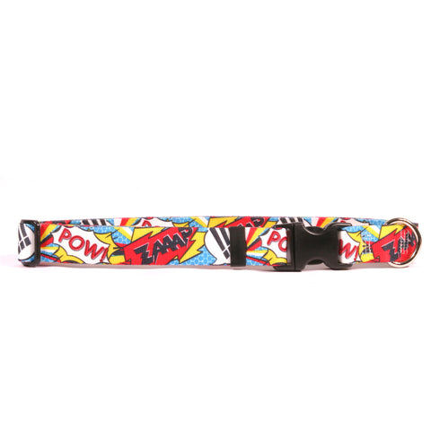 Comic Print Adjustable Nylon Dog Collar