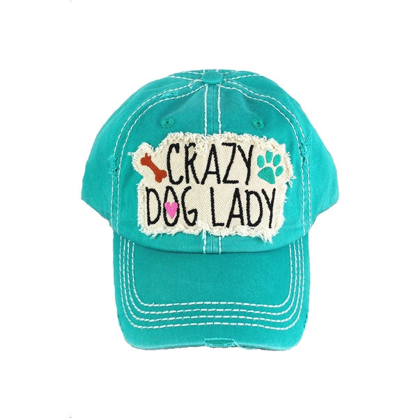 Distressed Stone Hat - Crazy Dog Lady - Blue