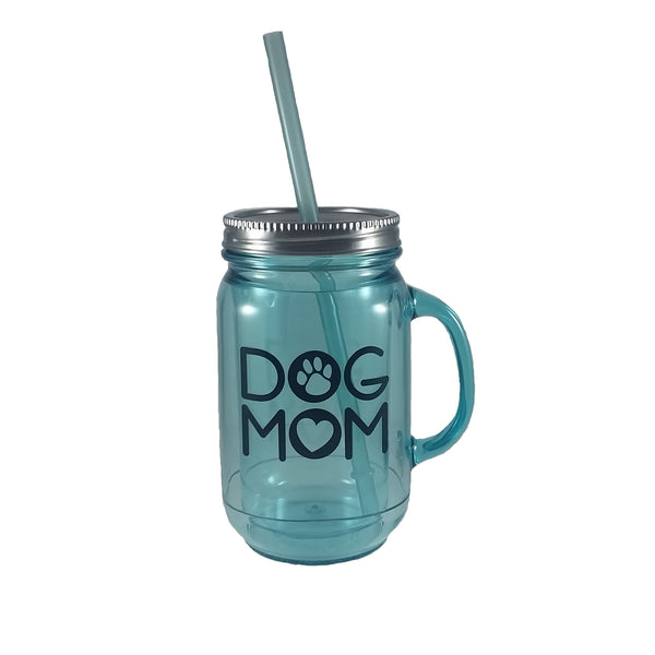 """Dog Mom"" Acrylic Mason Jar"