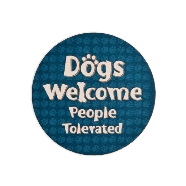 "Stone Car Coaster - ""Dogs Welcome"""