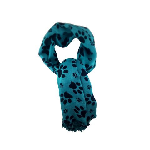 Emerald and Dark Paw Print Scarf - 100% Rayon