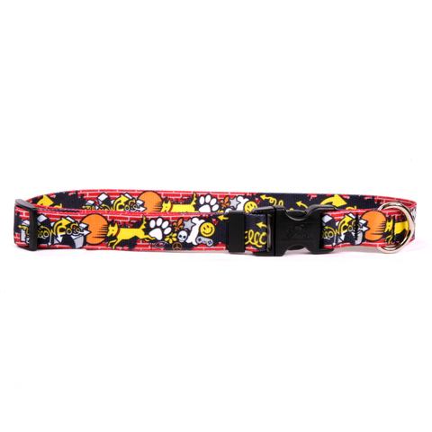 Graffiti Print Adjustable Nylon Dog Collar