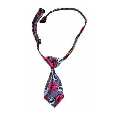 Dog Necktie - Gray with Colored Smileys