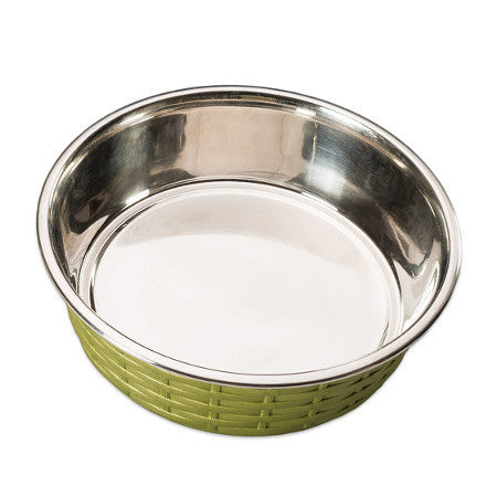 Soho Green Basket Weave Dog Bowl