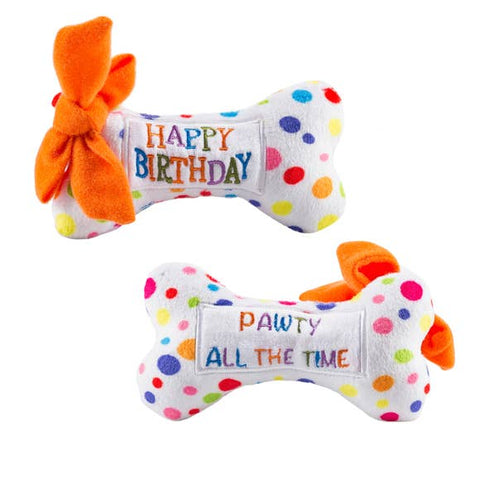 Happy Birthday Plush Bone Dog Toy - back