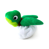 Hatchable Turtle Egg Plush Dog Toy half in shell