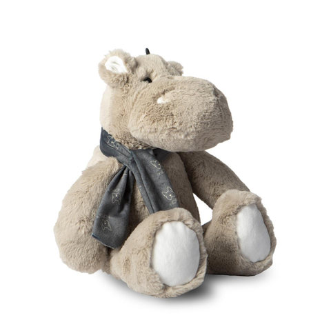 Gray Hippo with Scarf Plush Dog Toy