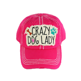 Distressed Stone Hat - Crazy Dog Lady - Pink