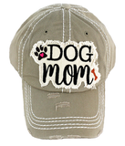 Distressed Stone Hat - Dog Mom - Tan