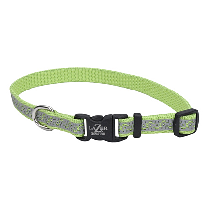 Lazer Brite Reflective Dog Collar - Lime
