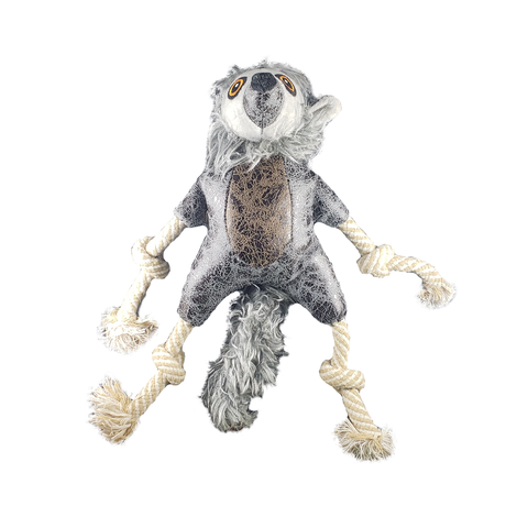 Gray Leather Lemur Rope Dog Toy