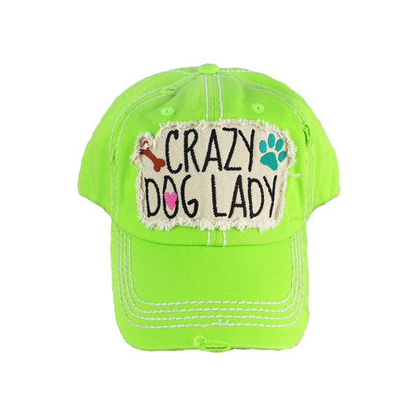 Distressed Stone Hat - Crazy Dog Lady - Green