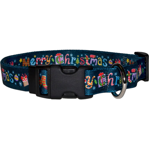 Merry Christmas Holiday Adjustable Nylon Dog Collar