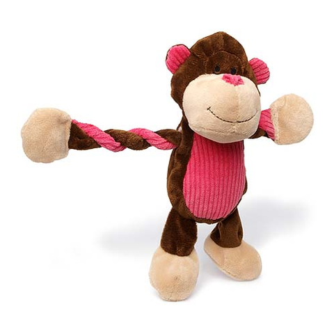Pulleez Plush Monkey Dog Toy