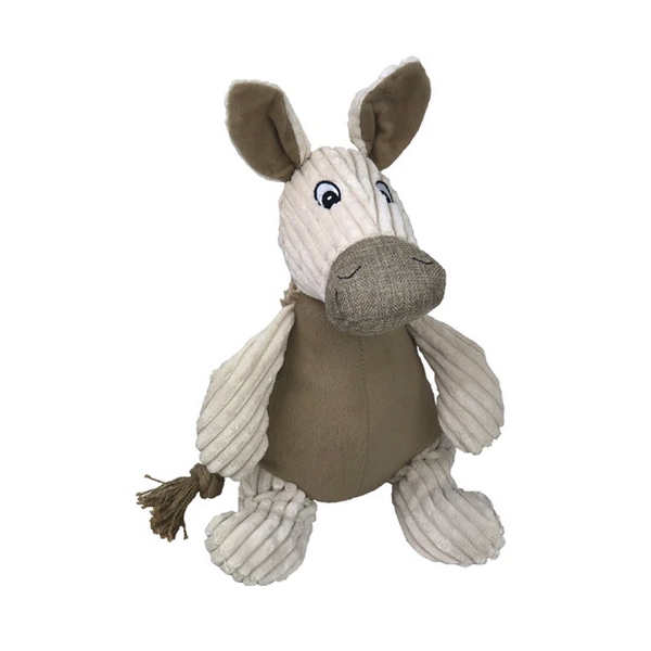 Natural Knubby Plush Donkey Dog Toy