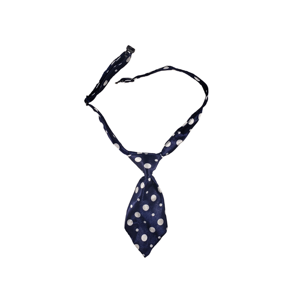 Dog Necktie - White Polka Dot
