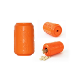 Soda Pup Rubber Can Dog Toy - orange with treats