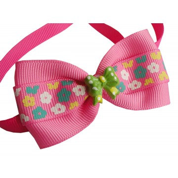 Adorable Pink Flower Dog Bow Tie
