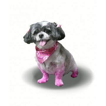 Dog wearing Peace and Love Triangle Pink Dog Bandana