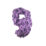Light Purple and Dark Paw Print Scarf - 100% Rayon
