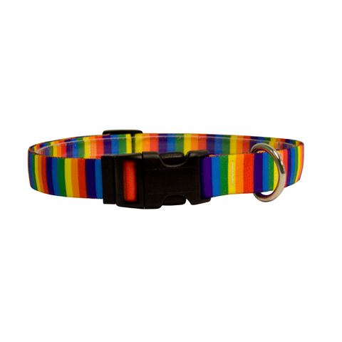 Rainbow Print Adjustable Nylon Dog Collar