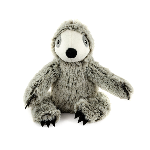 Sitting Sloth Plush Gray Dog Toy