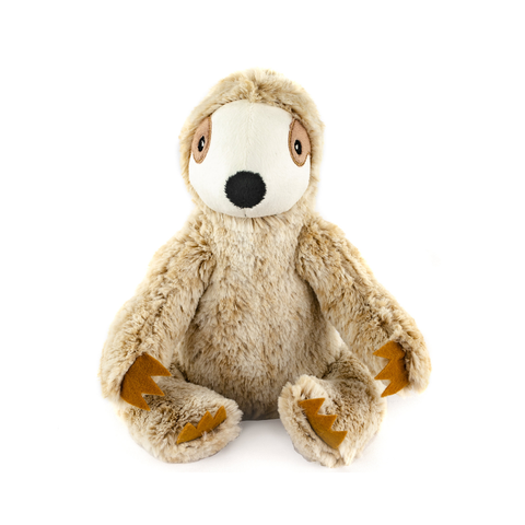 Sitting Sloth Plush Tan Dog Toy