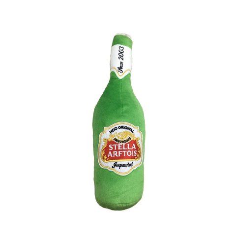Stella Arftois Plush Bottle Dog Toy