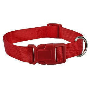 Deep Red Adjustable Nylon Dog Collar SM