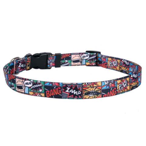 Vintage Comic Adjustable Nylon Dog Collar