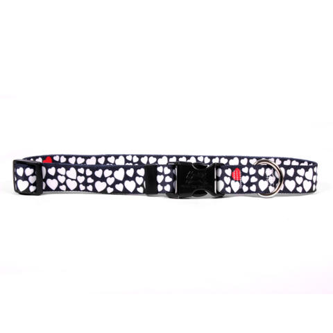 White Hearts Adjustable Nylon Dog Collar