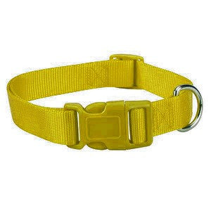 Bright Yellow Nylon Adjustable Dog Collar SM