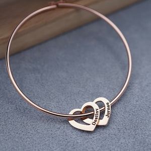 Custom Heart charm Name Bracelet