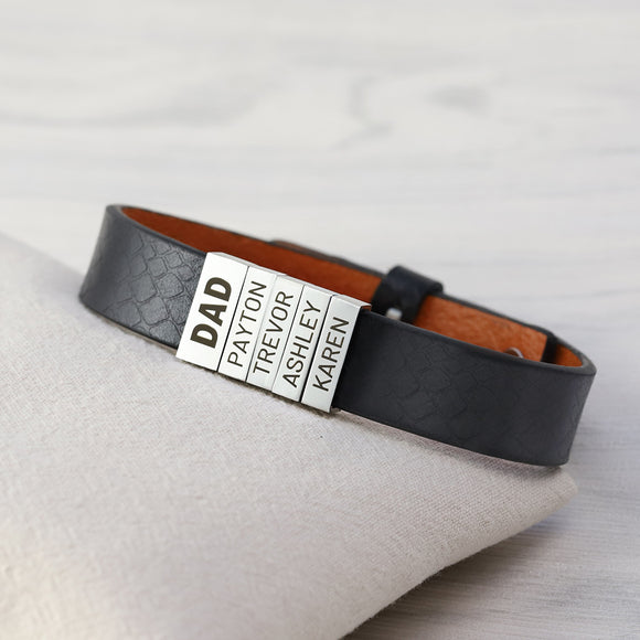 Personalized Family Names Genuine Leather Bracelet
