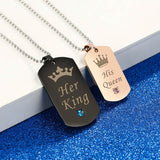 Her King & His Queen Couple Necklaces with Crown (Best Valentine Gift)