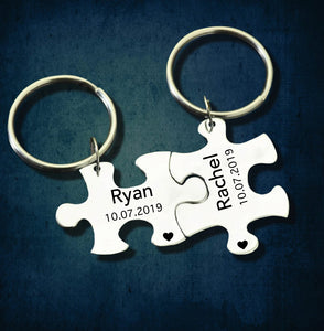Personalized Couple Puzzle Keychain