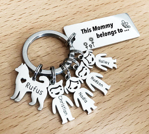 Personalized Family Names Keychain with pets