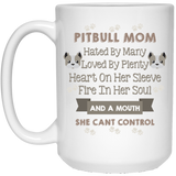 """Pitbull Mom hated by many loved by plenty....."" Coffee mug - CustomGrace"