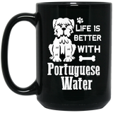 """Life Is Better With Portuguese Water""   Coffee Mug (Black)"