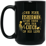 """One fine fisherman lives here with the catch of his life"" coffee mug (golden)"