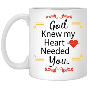 """God Knew My Heart Needed You"" Coffee Mug for Couple"